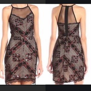 Greylin black beaded geometric cocktail dress